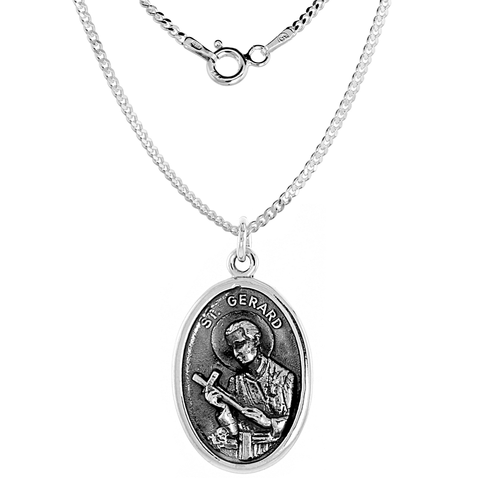 Sterling Silver St Gerard Medal Necklace Oval 1.8mm Chain