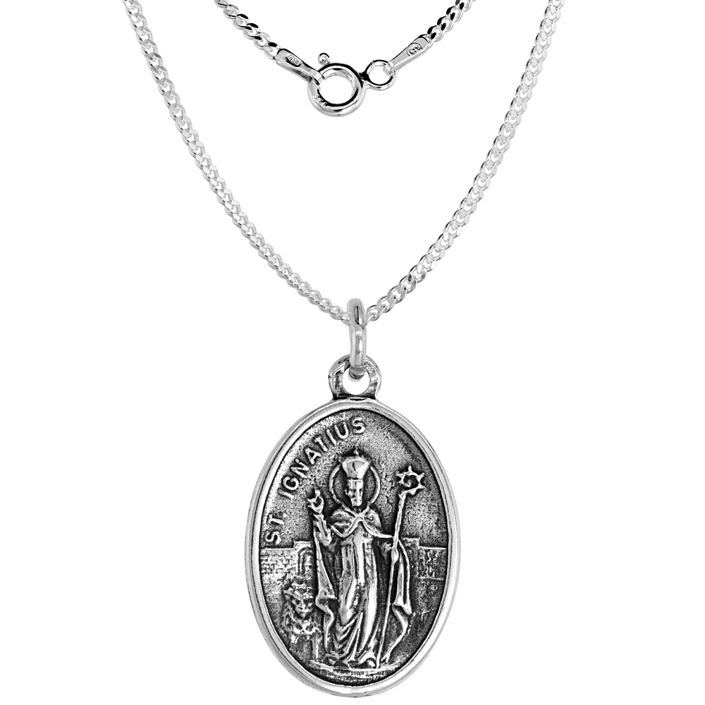 Sterling Silver St Ignatius Medal Necklace Oval 1.8mm Chain
