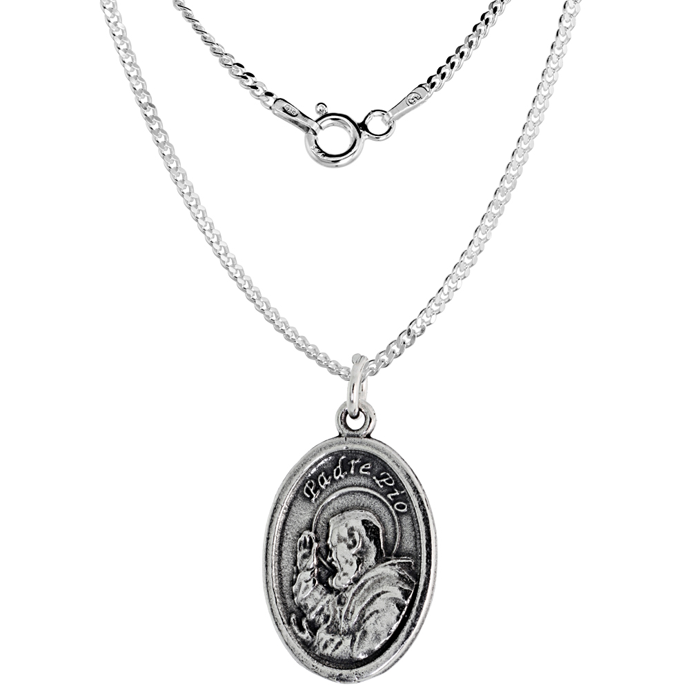 Sterling Silver St Padre Pio Medal Necklace Oval 1.8mm Chain