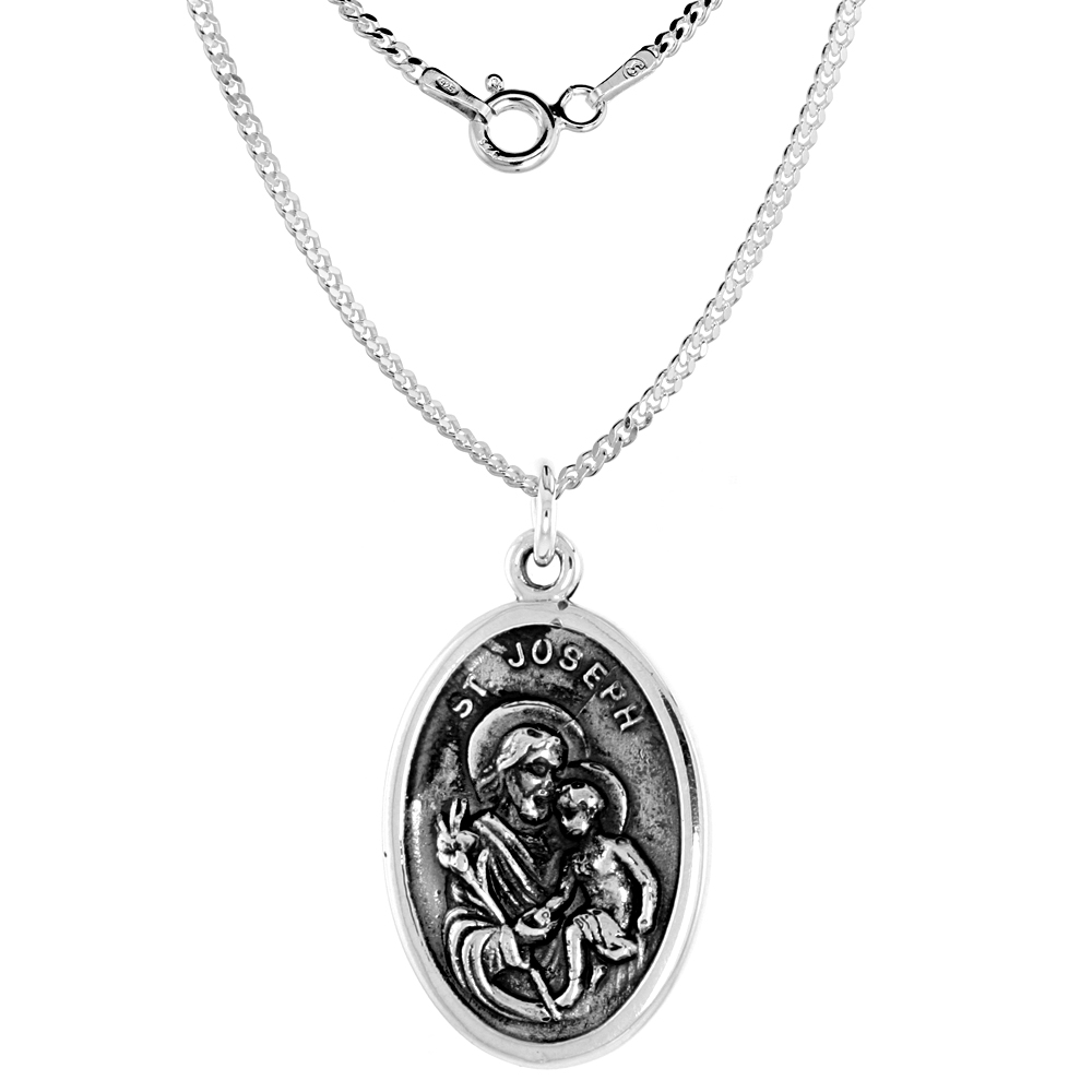 Sterling Silver St Joseph Medal Necklace Oval 1.8mm Chain