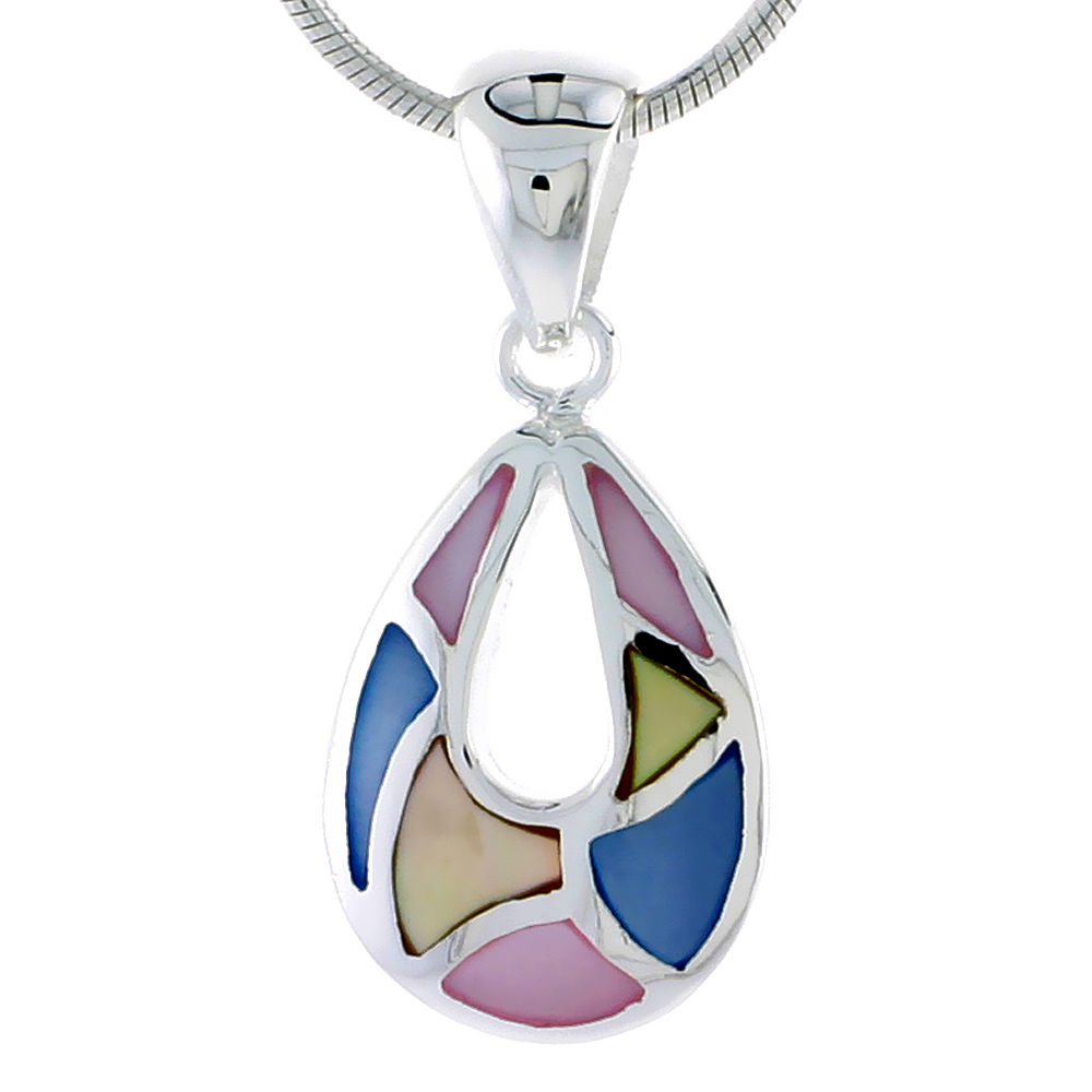 "Sterling Silver Pear-shaped Pink, Blue & Light Yellow Mother of Pearl Inlay Pendant, 11/16"" (17 mm) tall"