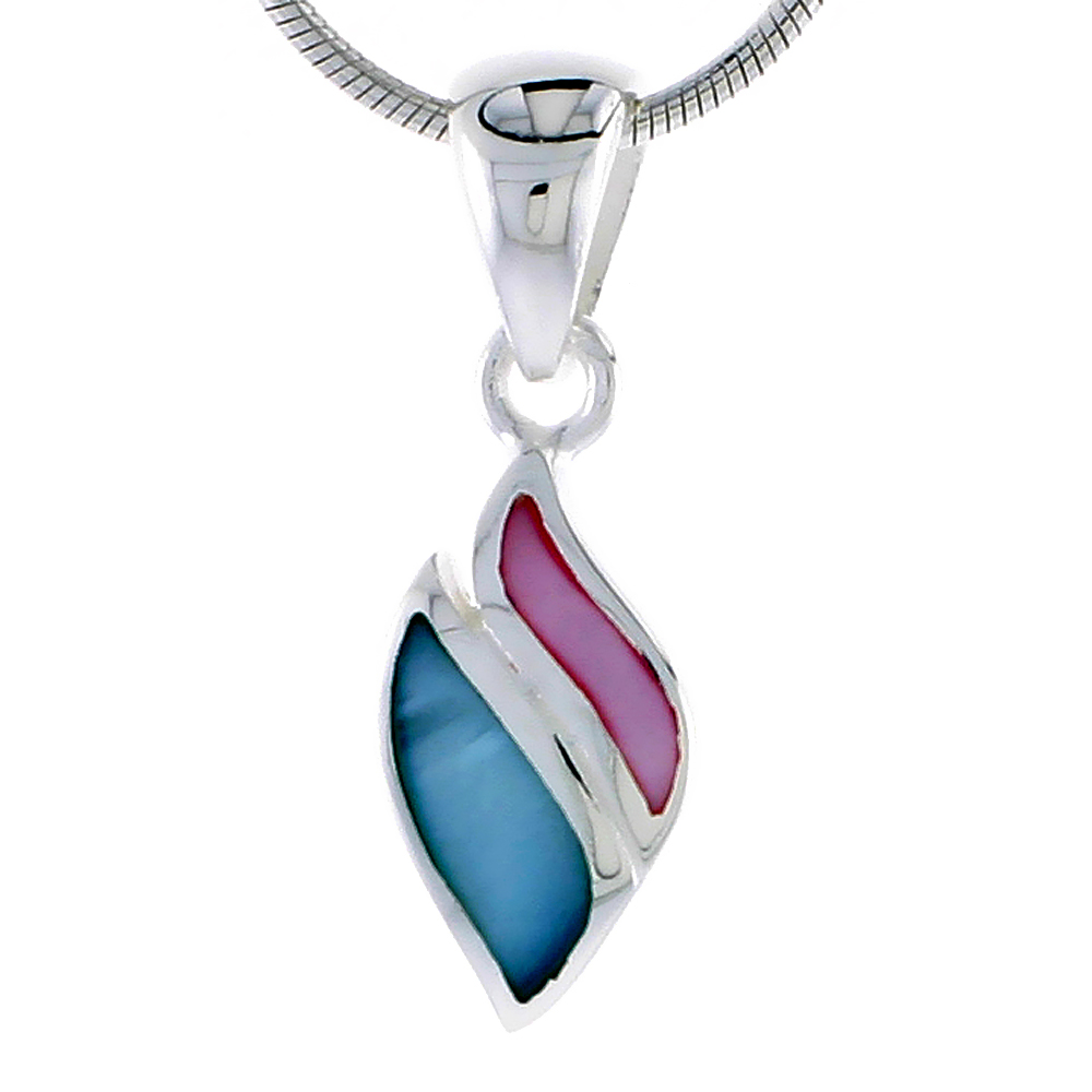 "Sterling Silver Pink & Blue Mother of Pearl Inlay Pendant, 9/16"" (14 mm) tall"