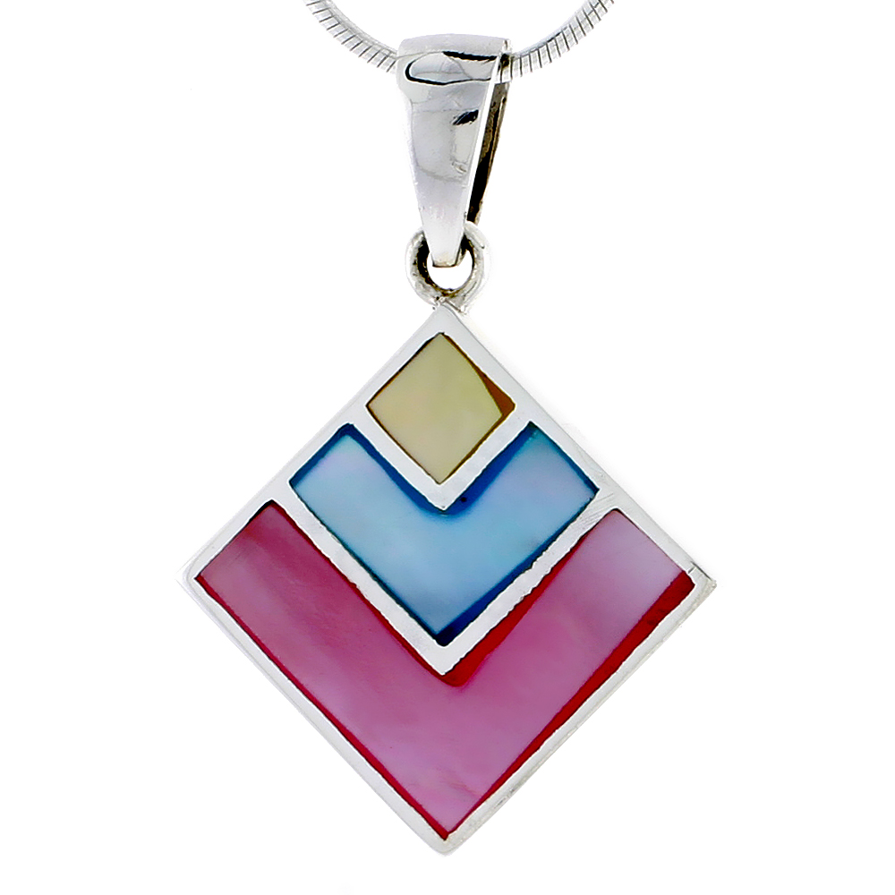 "Sterling Silver Diamond-shaped Pink, Blue & Light Yellow Mother of Pearl Inlay Pendant, 15/16"" (24 mm) tall"