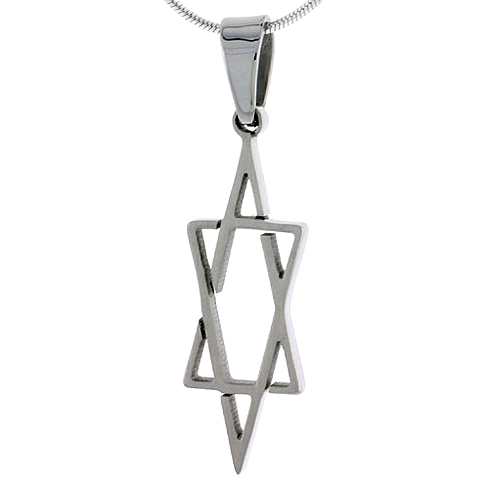 Stainless Steel Star of David Necklace 1 1/4 inch tall, w/ 30 inch Chain