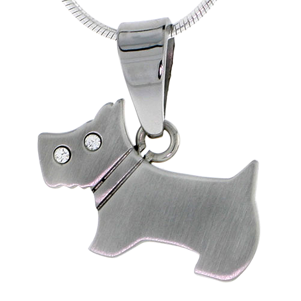 Stainless Steel Scottish Terrier Scottie Dog Necklace 3/14 inch (20 mm), w/ 30 inch Chain