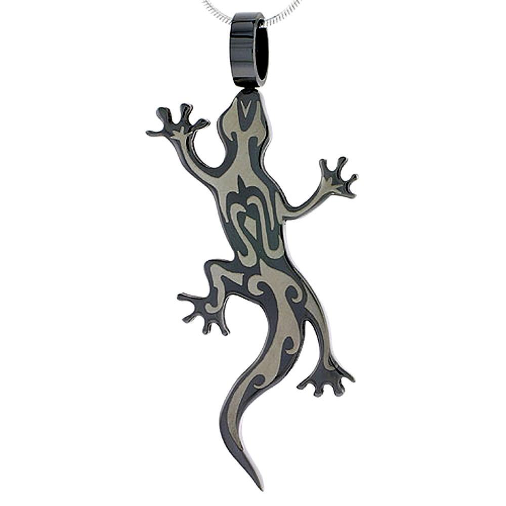 Stainless Steel Tribal Gecko Necklace 2-tone Blackened 2 inch, w/ 30 inch Chain
