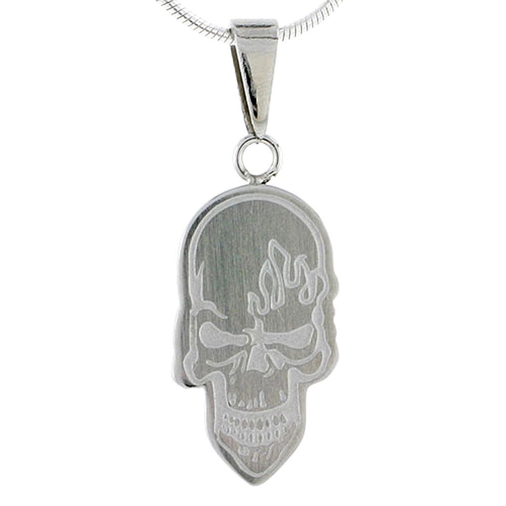 Stainless Steel Skull Necklace, 3/4 inch tall, w/ 30 inch Chain