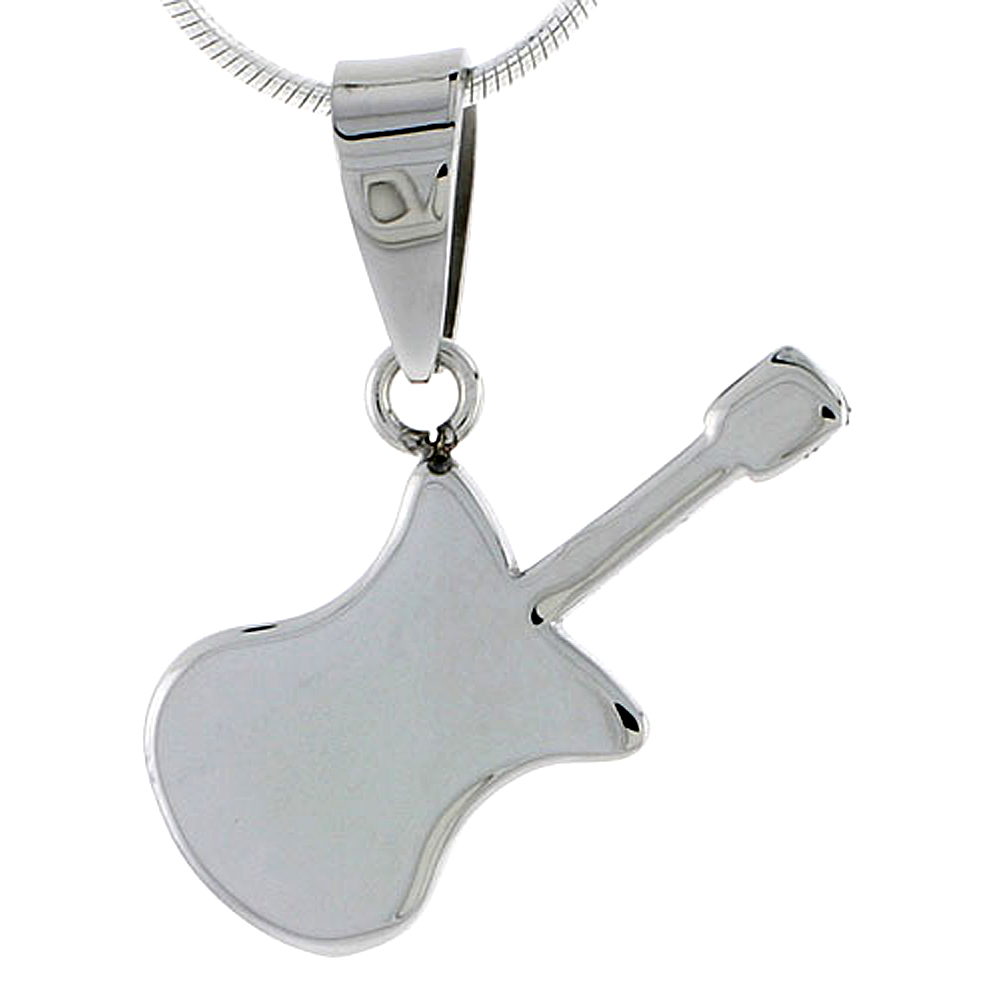 Stainless Steel Guitar Necklace, 1 inch tall, w/ 30 inch Chain