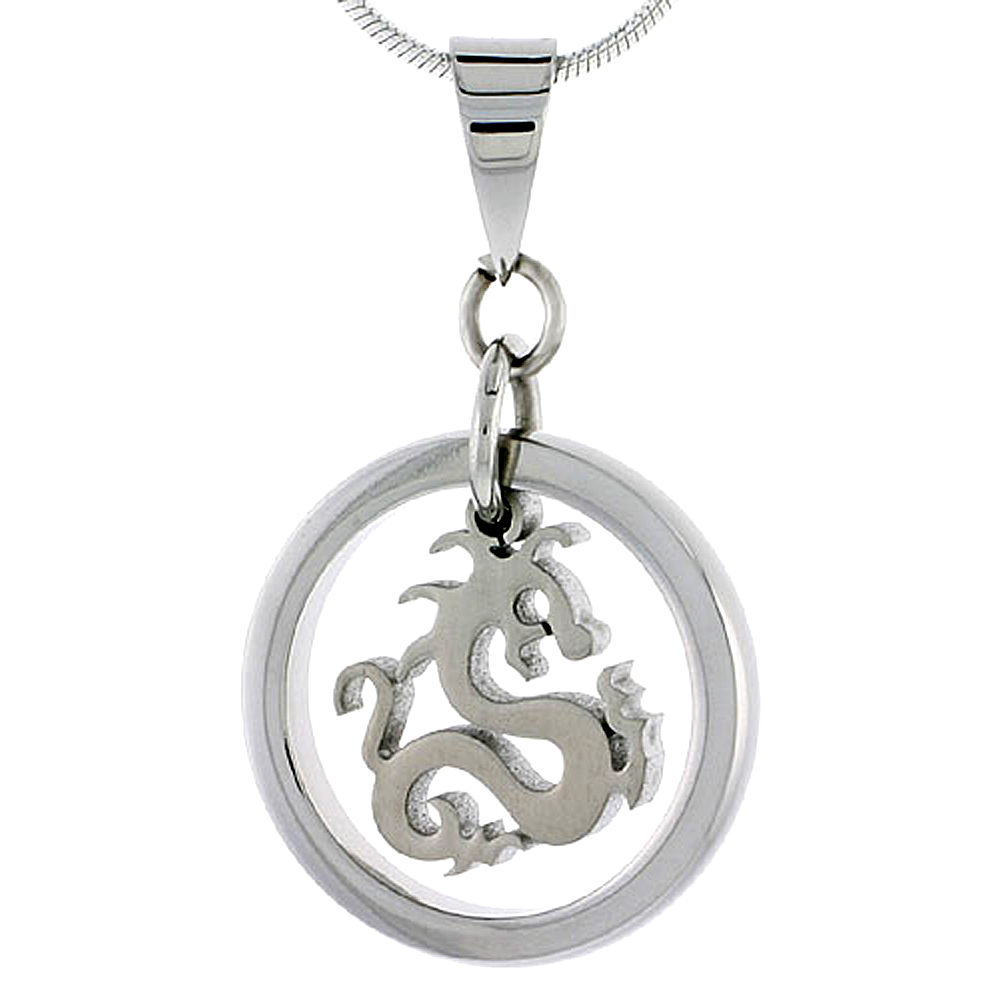 Stainless Steel Dragon Necklace, 3/4 inch tall, w/ 30 inch Chain