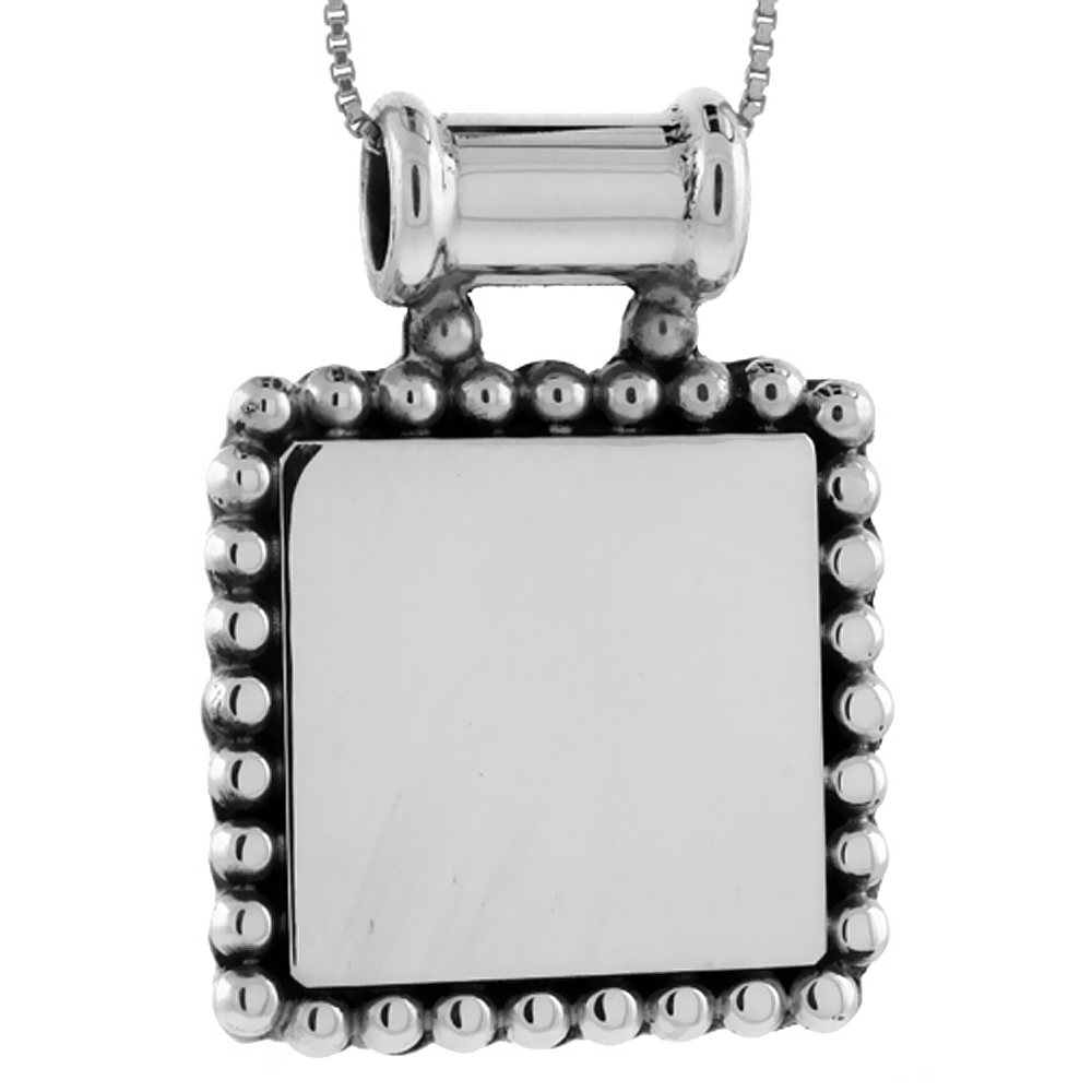 Sterling Silver Beaded Square Disc Pendant Engravable Beaded Edge Handmade, 1 1/8 inch long