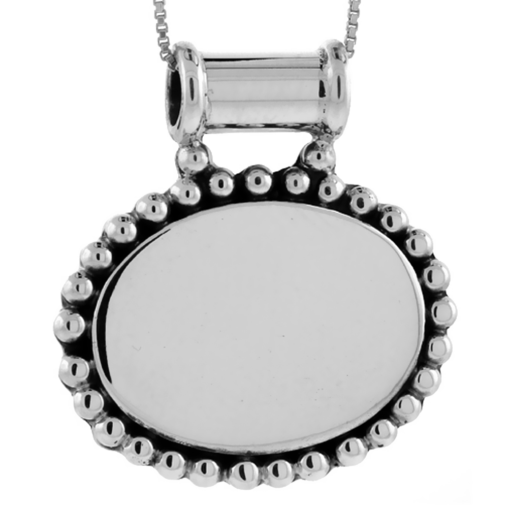 Sterling Silver Beaded Oval Disc Pendant Engravable Beaded Edge Handmade, 1 inch long