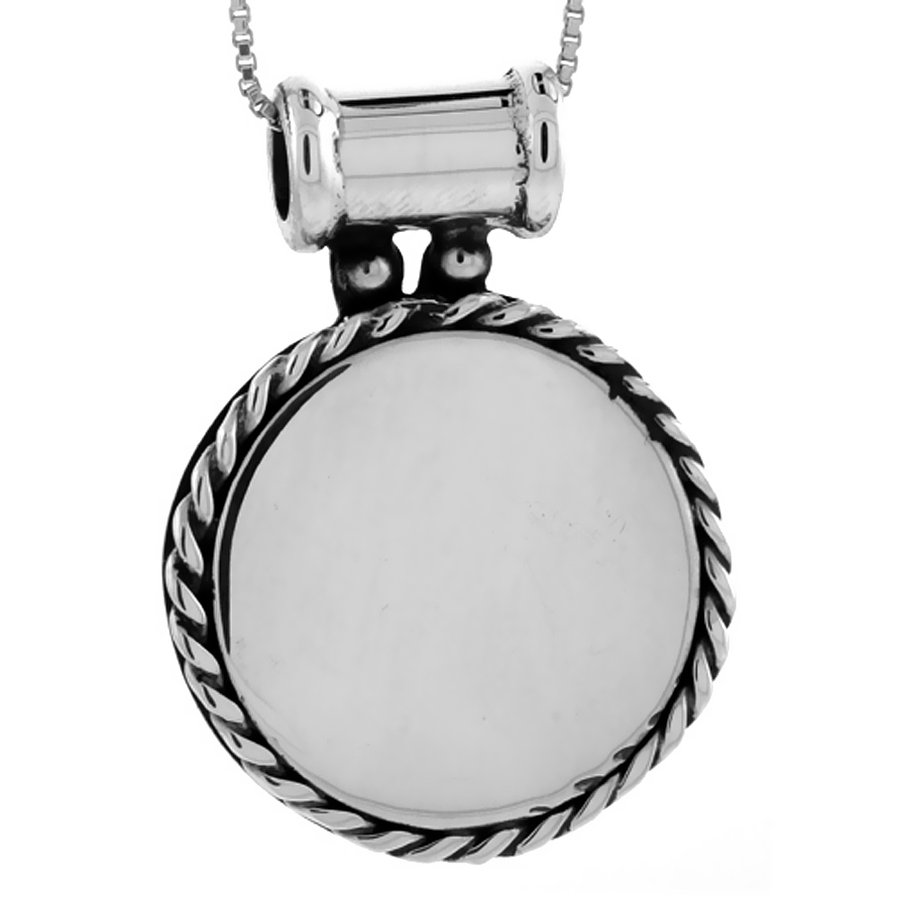 Sterling Silver Round Disc Pendant Engravable Rope Edge Handmade, 1 1/16 inch long