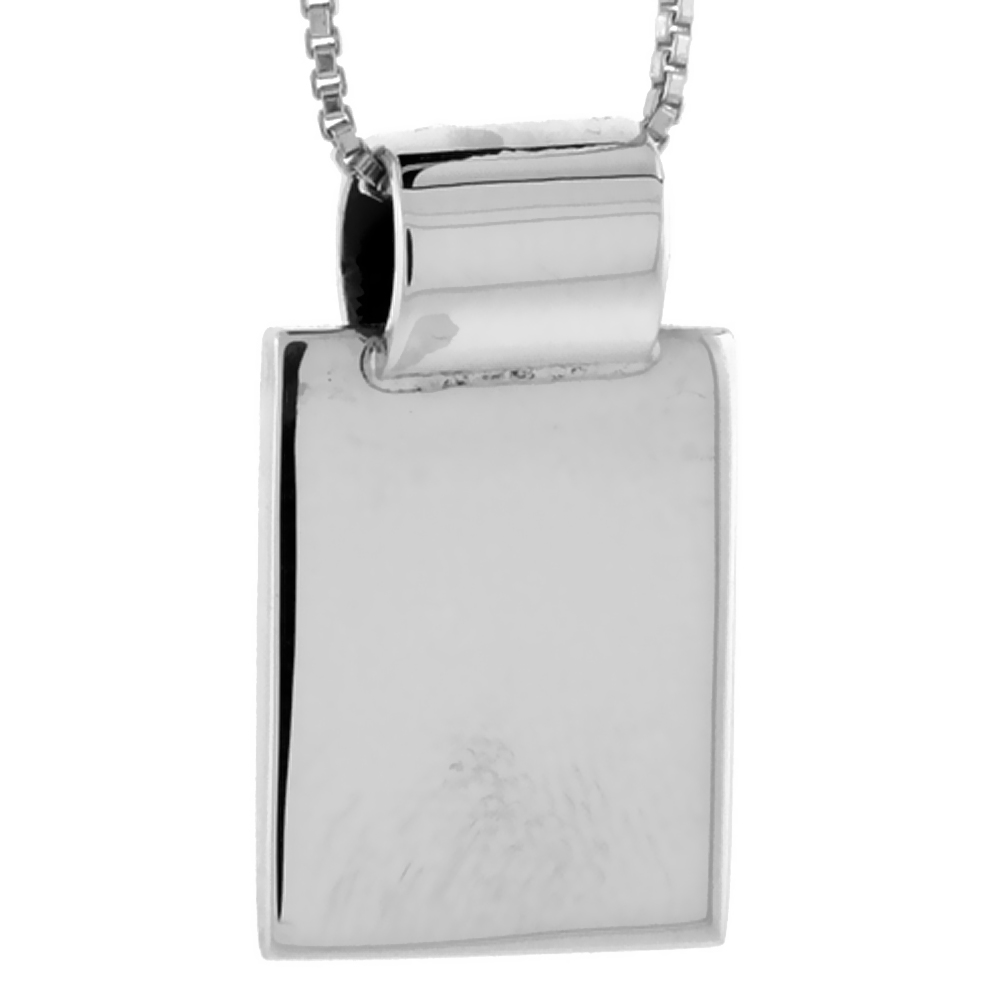 Sterling Silver Small Rectangular Disc Pendant Engravable Handmade, 9/16 inch long