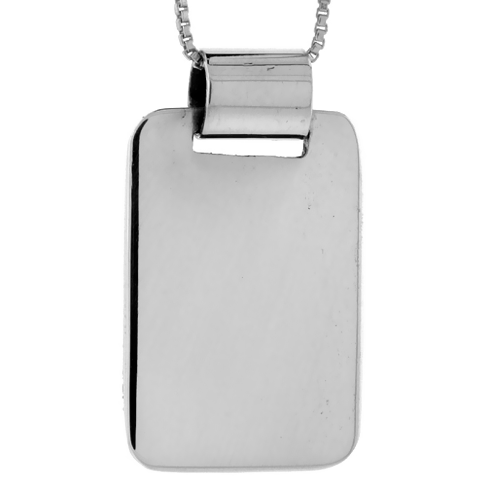 Sterling Silver Rectangular Disc Pendant Engravable Handmade, 1 1/8 inch long