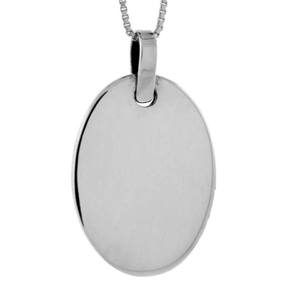 Sterling Silver Oval Disc Pendant Engravable Handmade, 1 1/8 inch long