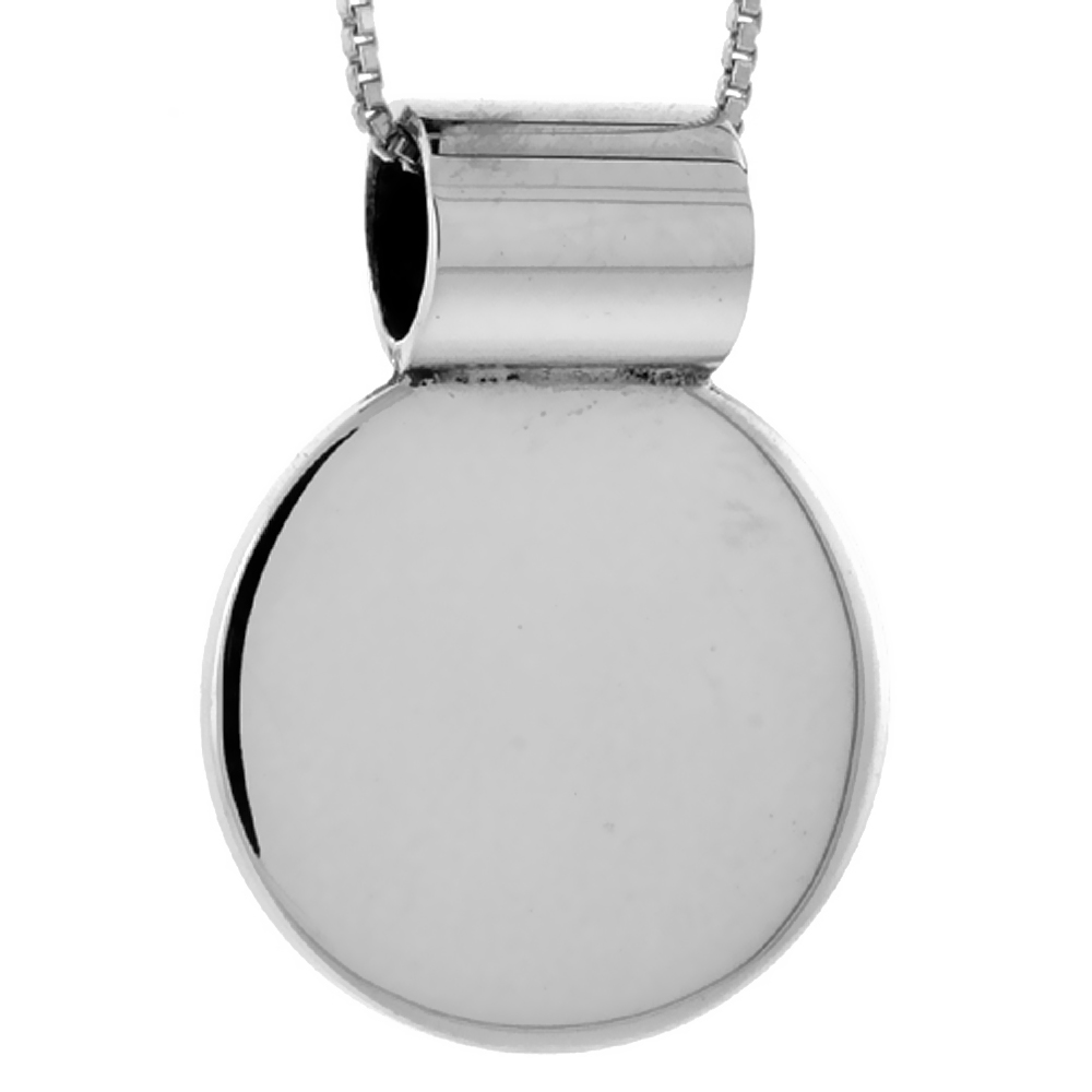 Sterling Silver Round Disc Pendant Engravable Handmade, 7/8 inch long