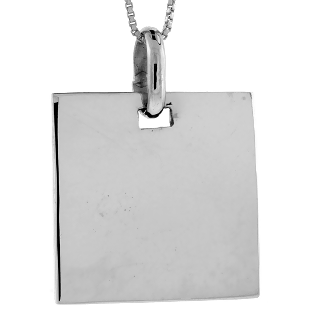 Sterling Silver Rectangular Disc Pendant Engravable Handmade, 7/8 inch long