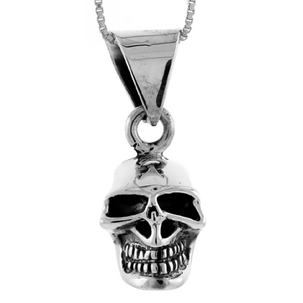 Sterling Silver Skull Pendant Handmade, 1 inch long
