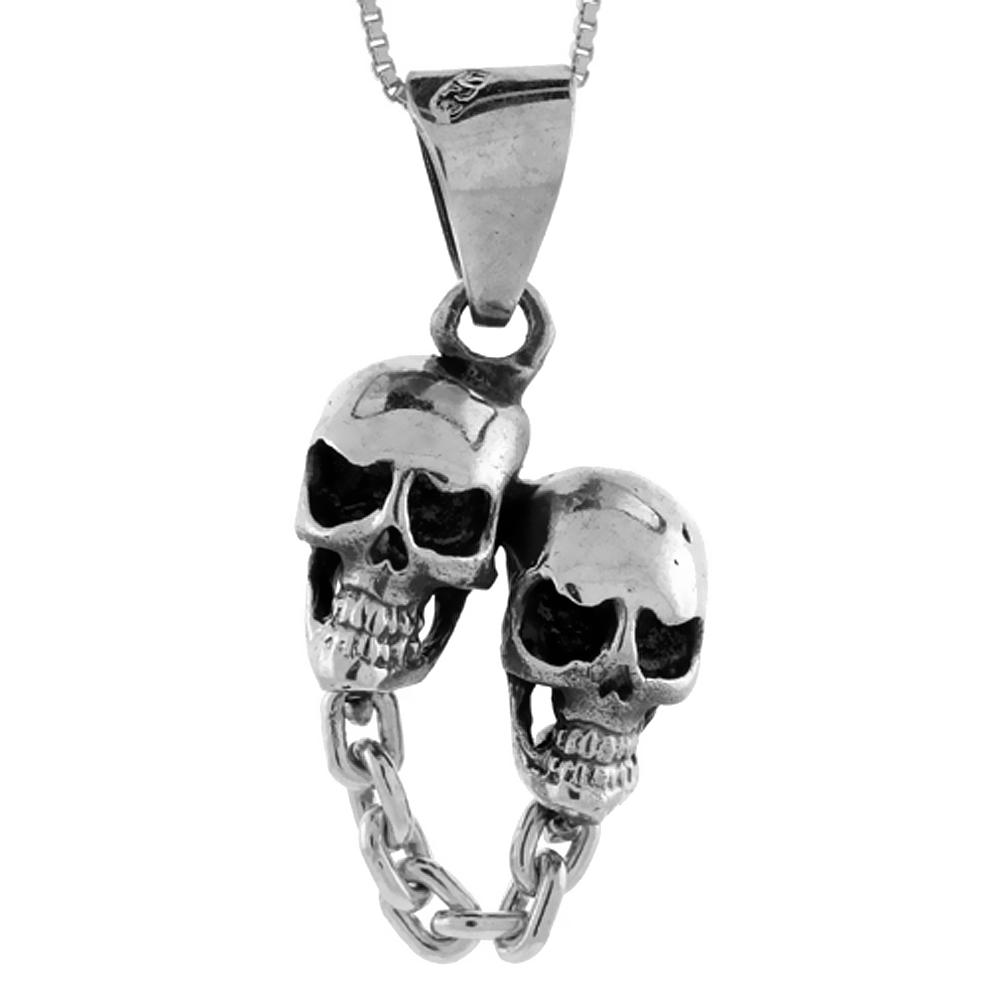 Sterling Silver Double Skull Pendant Handmade, 1 1/8 inch long