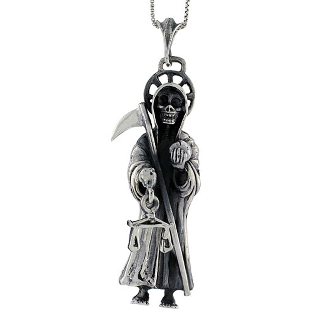 Sterling Silver Santa Muerte Pendant Large, 2 5/8 inch long