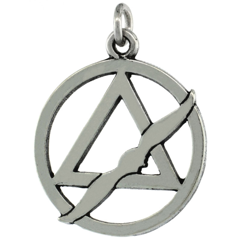 Sterling Silver Sobriety Symbol Recovery Pendant, 1 1/8 in. (28 mm) tall