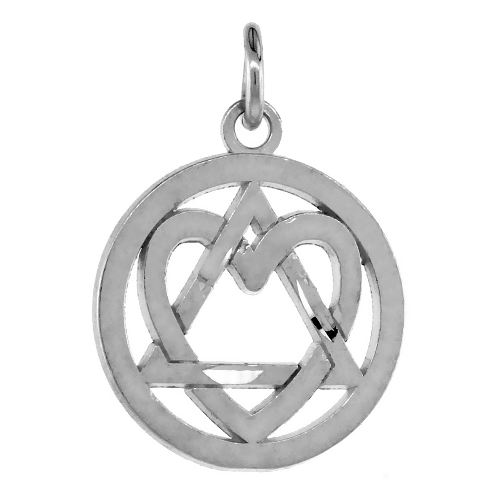 Sterling Silver Heart on Sobriety Symbol Recovery Pendant, 13/16 in. (21 mm) tall