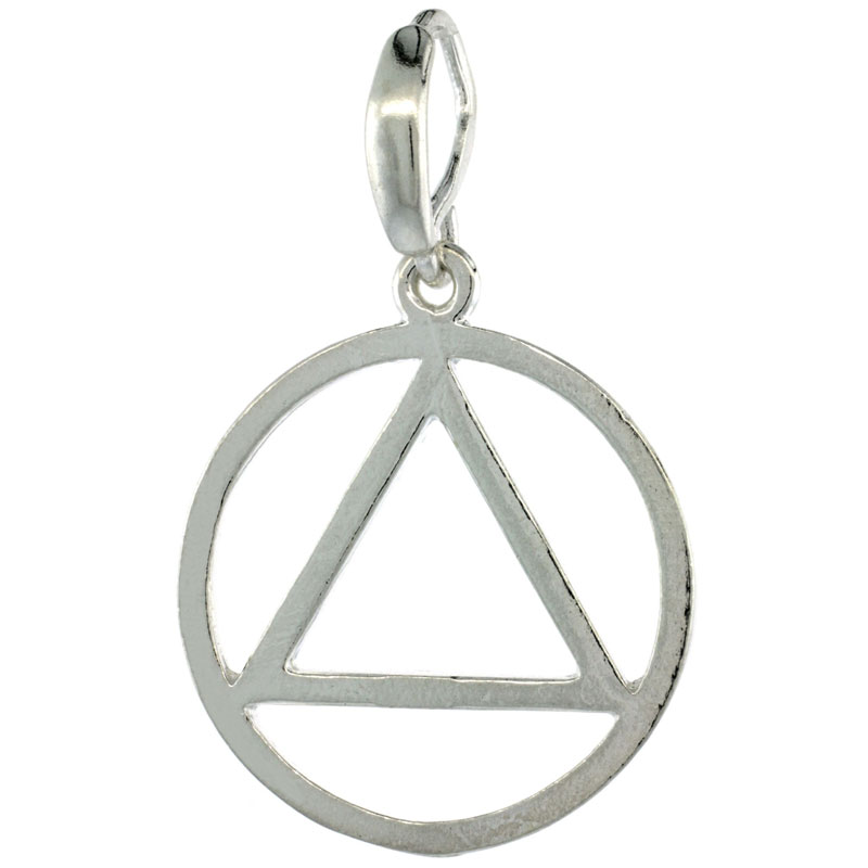 Sterling Silver Sobriety Symbol Recovery Pendant, 1 1/4 in. (31 mm) tall