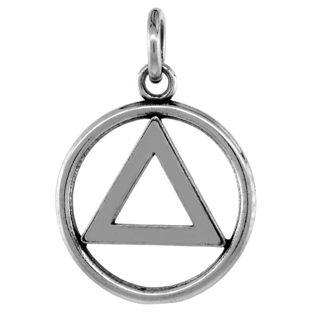 Sterling Silver Sobriety Symbol Recovery Pendant, 13/16 in. (21 mm) tall