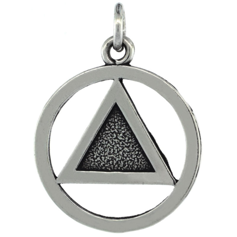Sterling Silver Sobriety Symbol Recovery Pendant, 1 in. (25 mm) tall