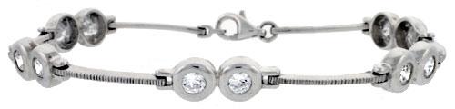 "7"" Sterling Silver Brilliant Cut CZ Bracelet"