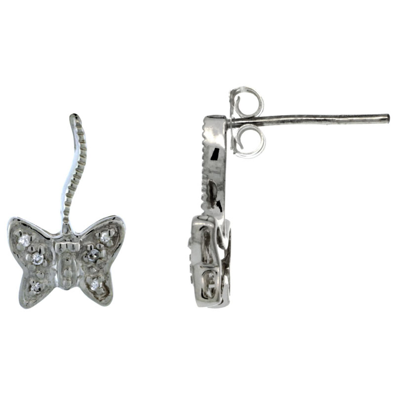Sterling Silver CZ Butterfly Post Earrings 9/16 in. (15 mm) tall