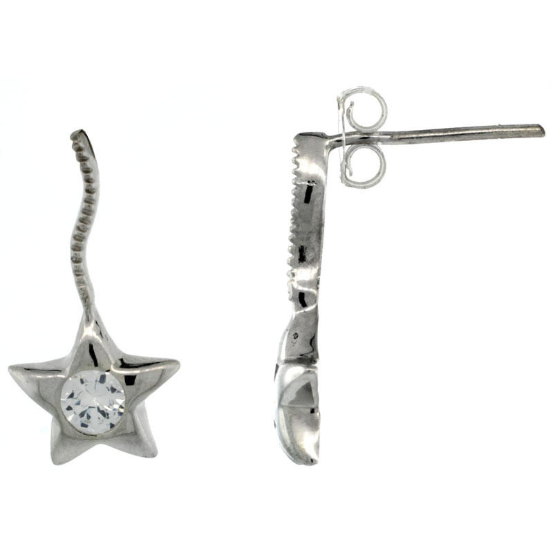 Sterling Silver CZ Star Post Earrings 3/4 in. (19 mm) tall