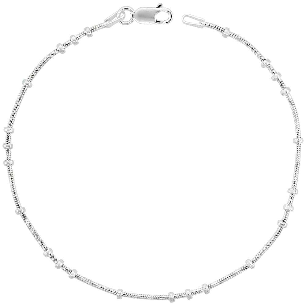 Sterling Silver Snake Chain 3 + 1 Station Necklaces & Bracelets 1mm Nickel free Italy, sizes 7 - 30 inch