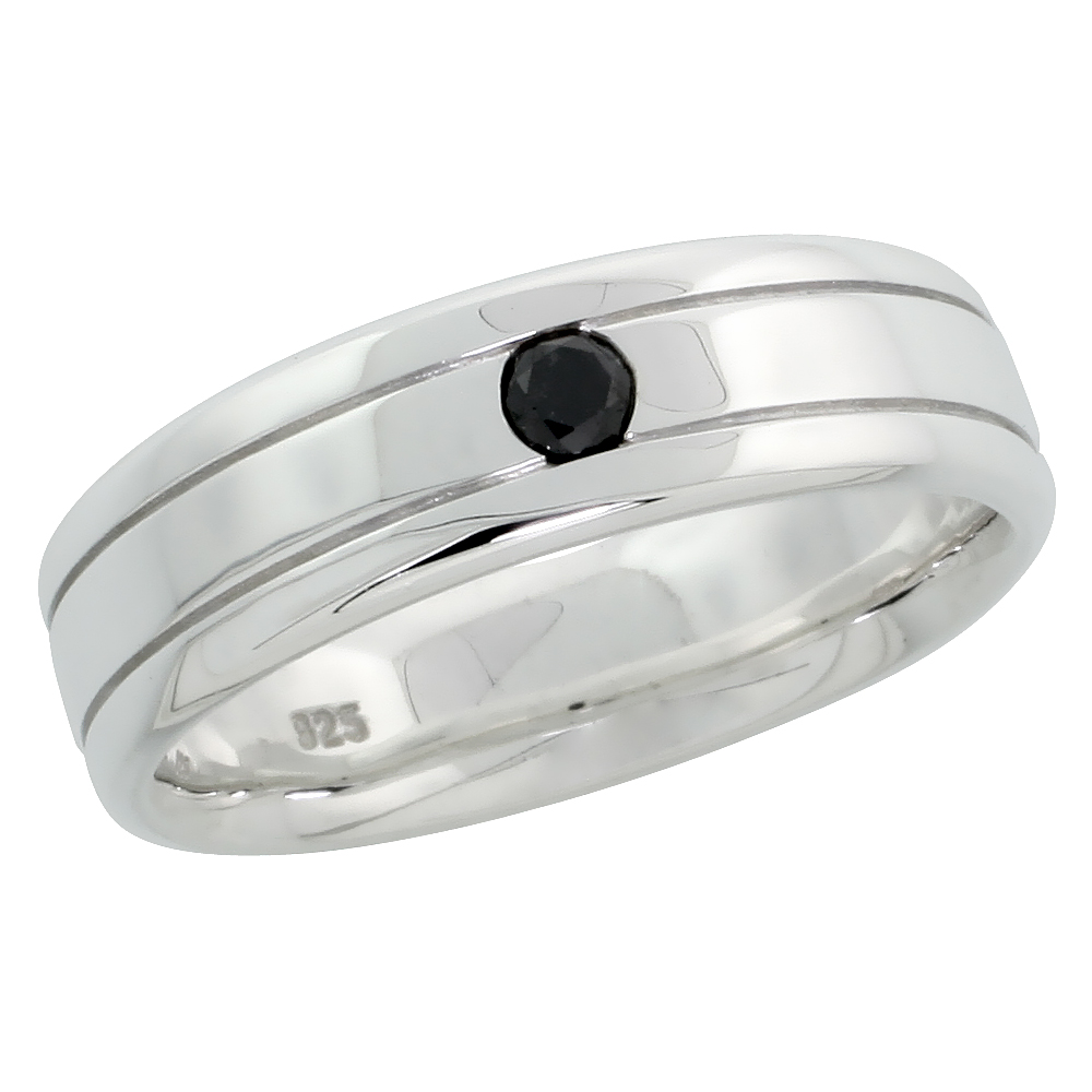 "Sterling Silver Gent's Grooved Diamond Ring Band w/ Single Stone (0.14 Carat) Brilliant Cut Black Diamond, 1/4"" (6 mm) wide"