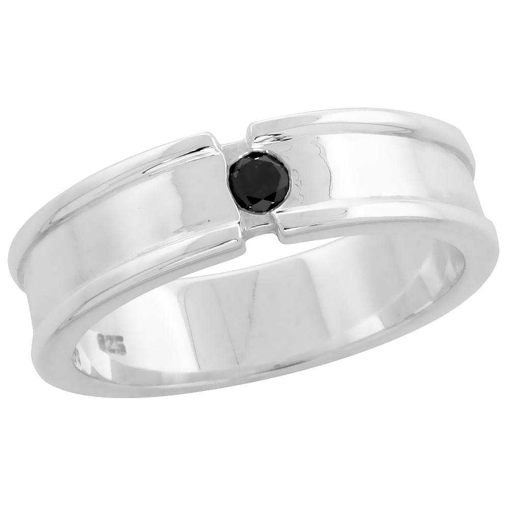 "Sterling Silver Raised Edges Diamond Ring Band w/ Single Stone (0.12 Carat) Brilliant Cut Black Diamond, 1/4"" (6 mm) wide"