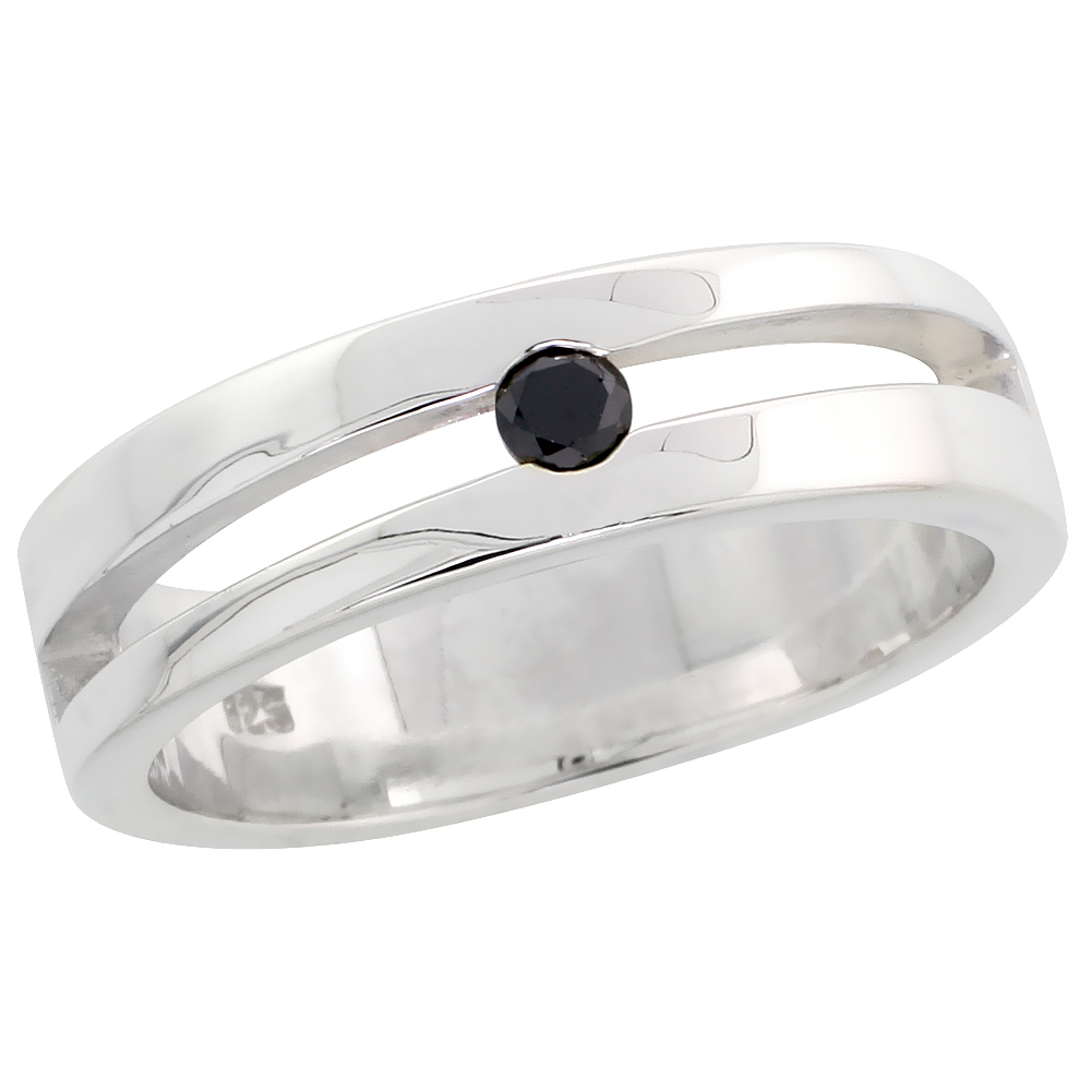 "Sterling Silver Slant Cut Out Diamond Ring Band w/ Single Stone (0.11 Carat) Brilliant Cut Black Diamond, 1/4"" (6 mm) wide"