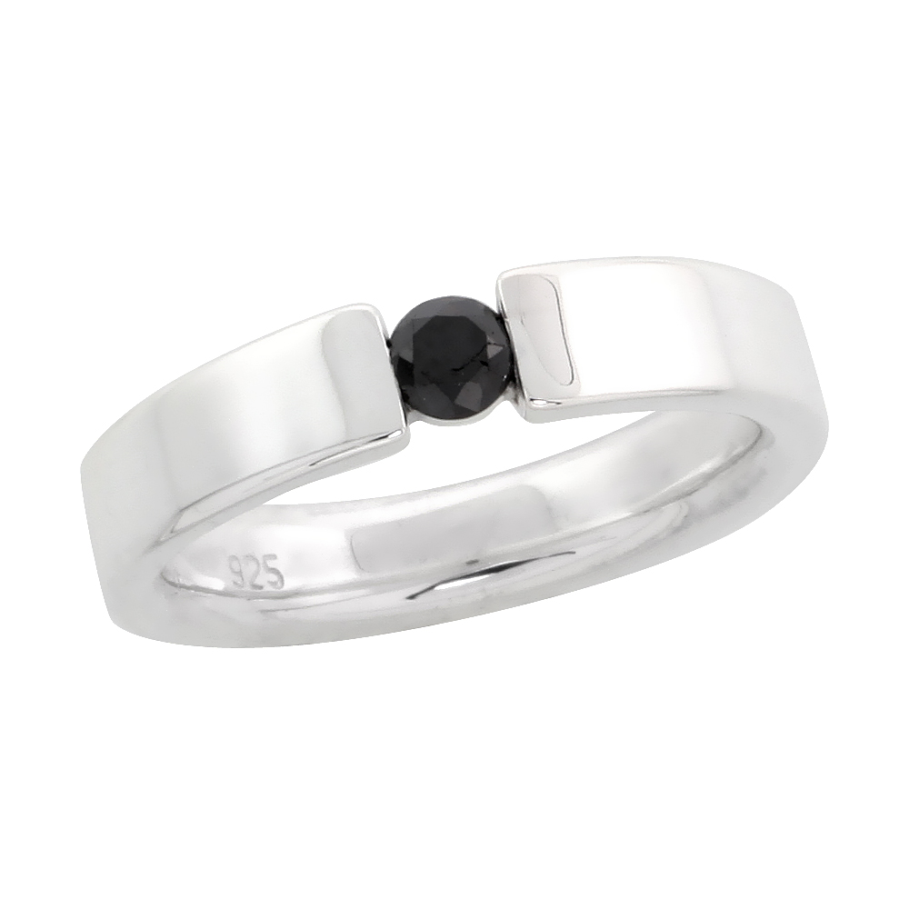 "Sterling Silver Diamond Tension Ring Band w/ Single Stone (0.24 Carat) Brilliant Cut Black Diamond, 5/32"" (4 mm) wide"