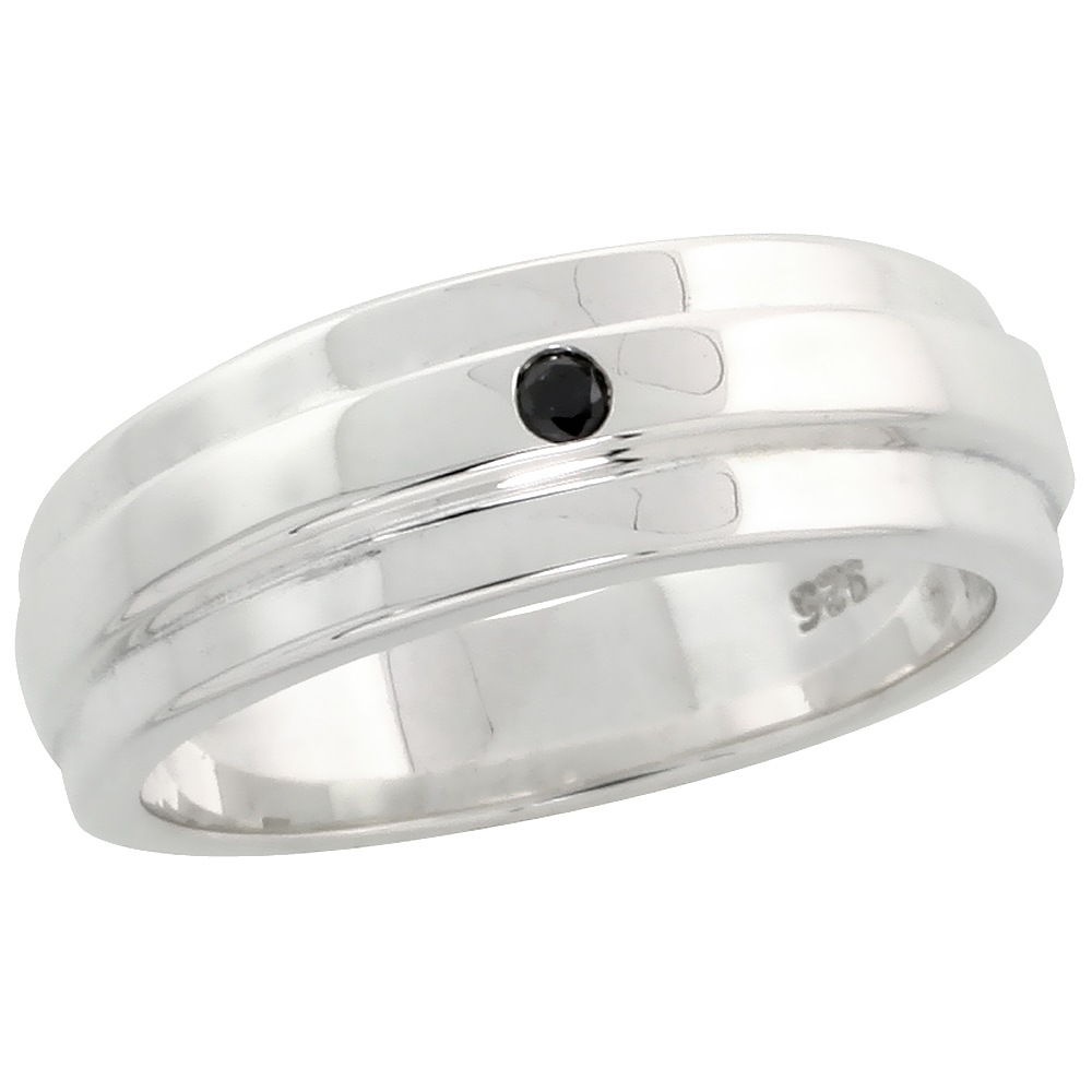 "Sterling Silver Raised Center Diamond Ring Band w/ Single Stone (0.02 Carat) Brilliant Cut Black Diamond, 1/4"" (6 mm) wide"