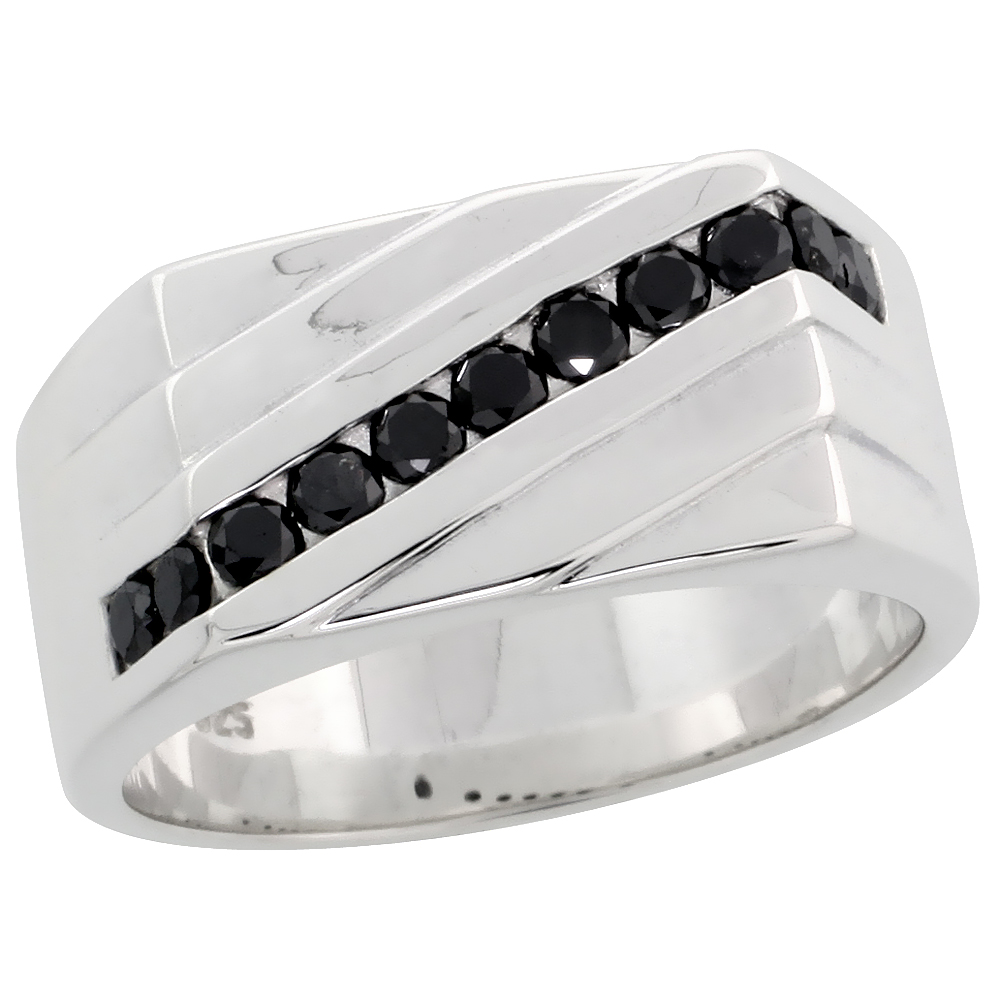 "Sterling Silver Diagonal Striped Diamond Ring Band w/ Eleven Stone (0.56 Carat) Brilliant Cut Black Diamonds, 3/8"" (10 mm) wide"