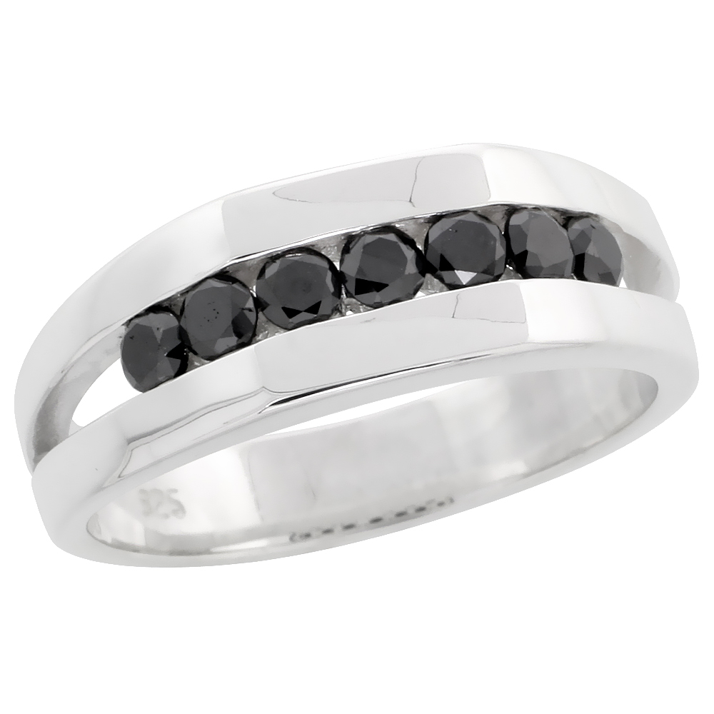 "Sterling Silver Seven Stone Miracle Diamond Ring Band w/ Brilliant Cut (0.72 Carat) Black Diamonds, 9/32"" (7 mm) wide"