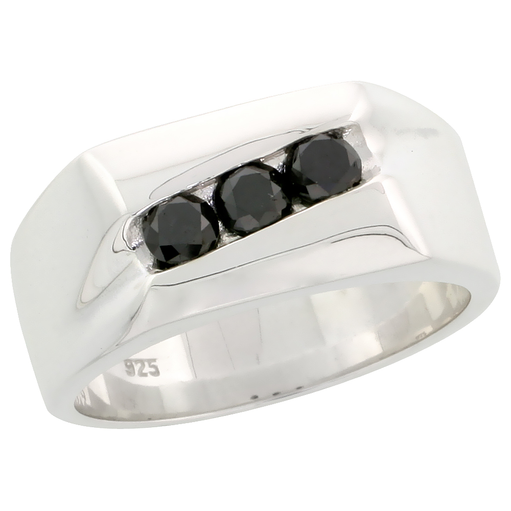 "Sterling Silver 3-Stone Diamond Ring Band w/ Brilliant Cut (0.70 Carat) Black Diamonds, 3/8"" (9.5 mm) wide"