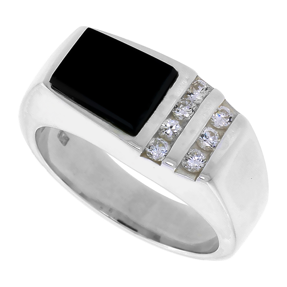 Sterling Silver Mens Black Onyx Ring Trapezoid CZ Accent 3/8 inch wide, sizes 8 - 13