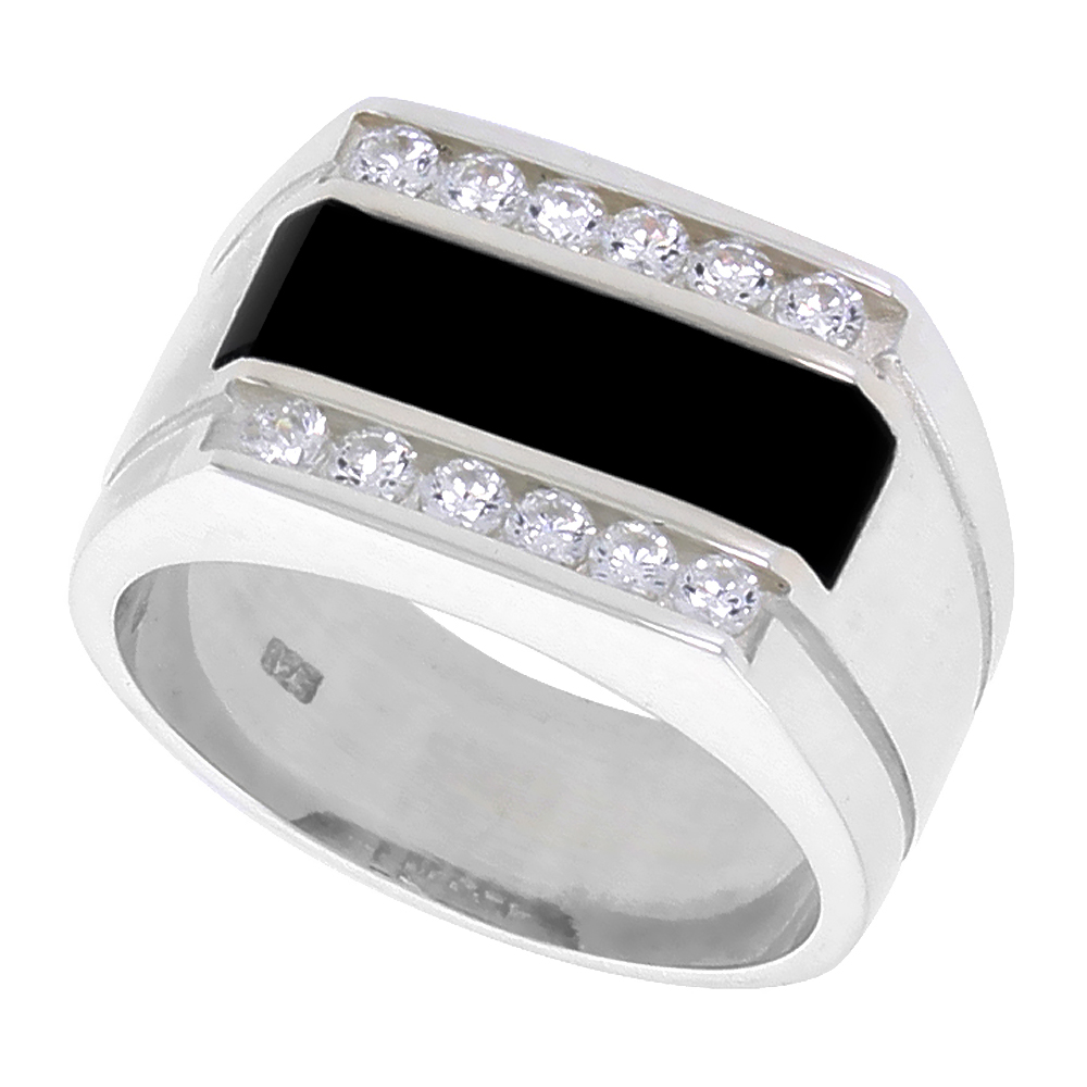 Sterling Silver Mens Rectangular Black Onyx Ring 2 Grooves CZ Accent 1/2 inch wide, sizes 8 - 13