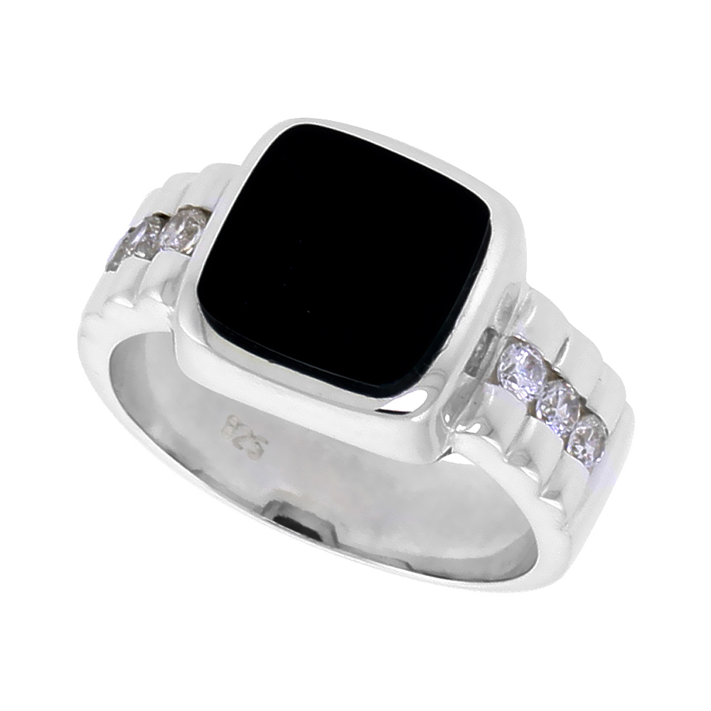 Sterling Silver Mens Black Onyx Ring Square CZ Accent 1/2 inch wide, sizes 8 - 13