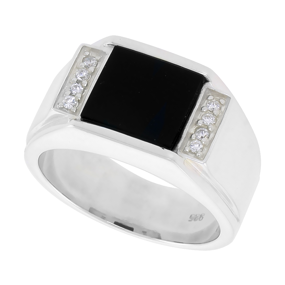 Sterling Silver Mens Square Black Onyx Ring Grooved Edges CZ Accent 1/2 inch wide, sizes 8 - 13