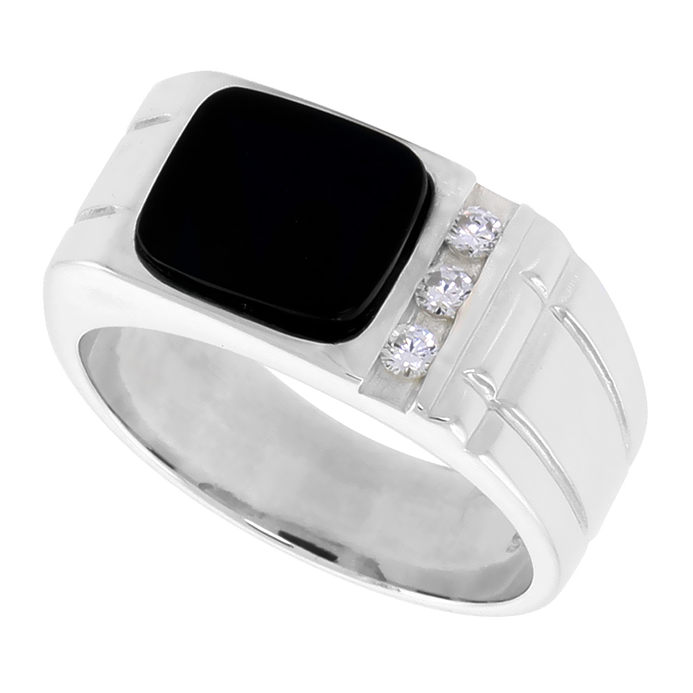 Sterling Silver Mens Rectangular Black Onyx Ring 2 Grooves CZ Accent 3/8 inch wide, sizes 8 - 13