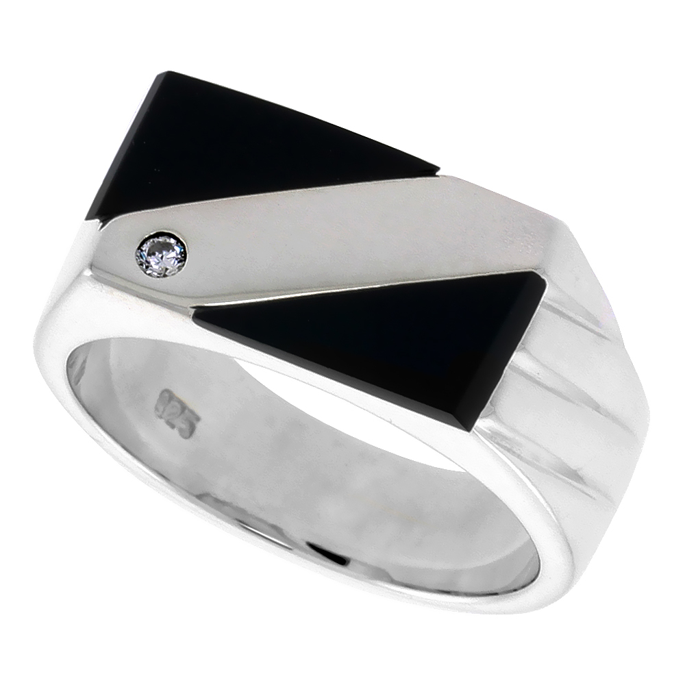 Sterling Silver Mens Double Triangle Black Onyx Ring 3 Grooves CZ Accent 3/8 inch wide, sizes 8 - 13