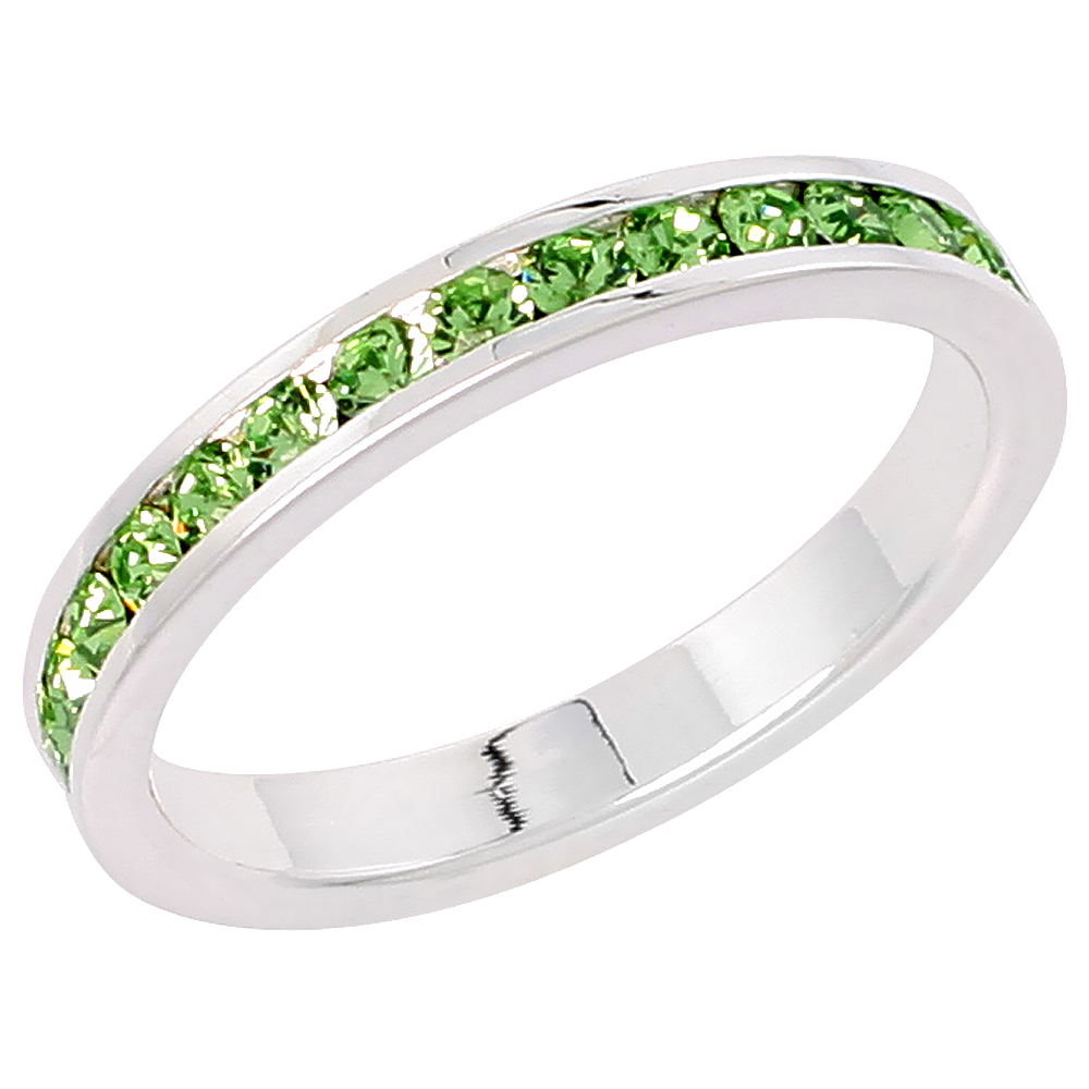 "Sterling Silver Stackable Eternity Band, August Birthstone, Peridot Crystals, 1/8"" (3 mm) wide"
