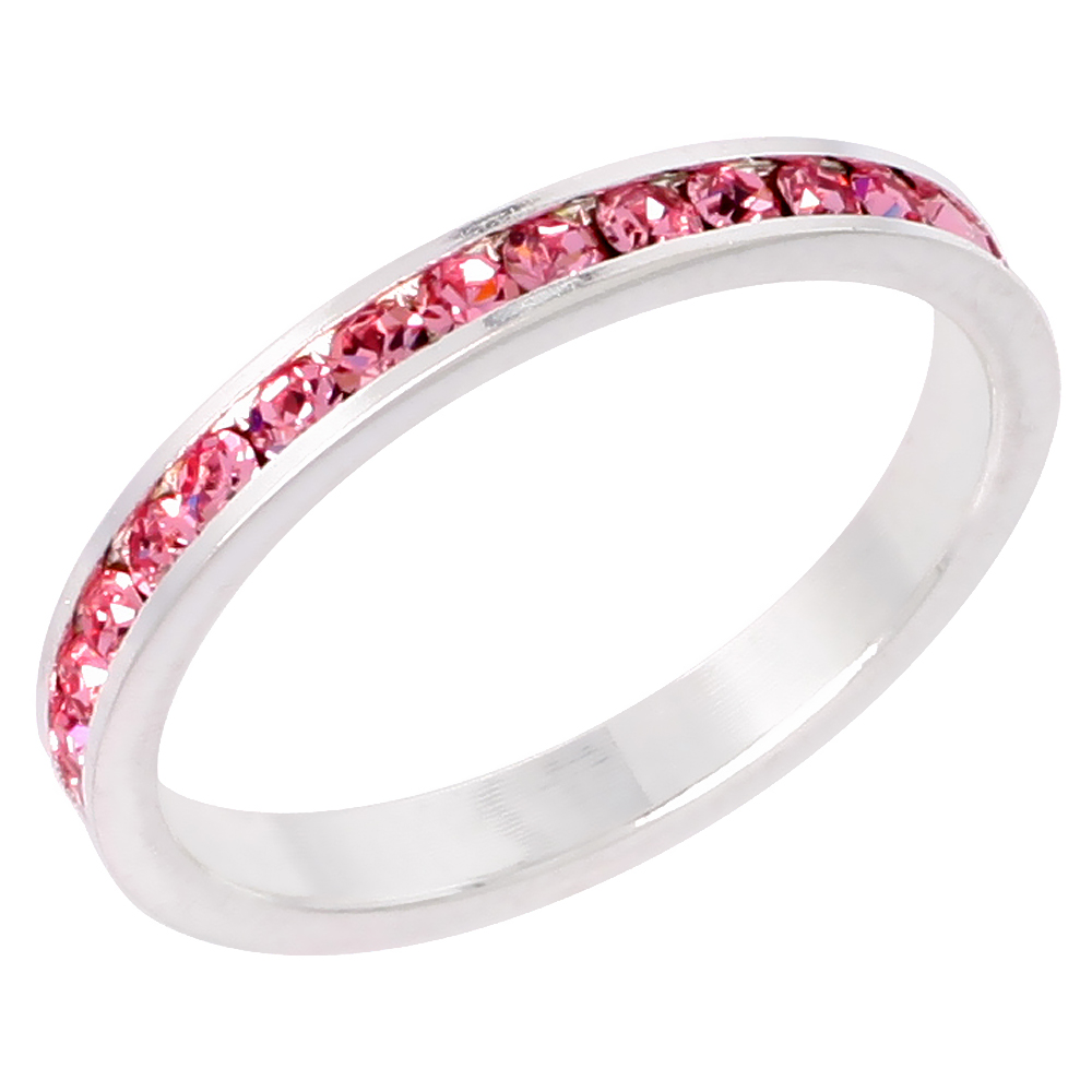 "Sterling Silver Stackable Eternity Band, October Birthstone, Pink Tourmaline Crystals, 1/8"" (3 mm) wide"