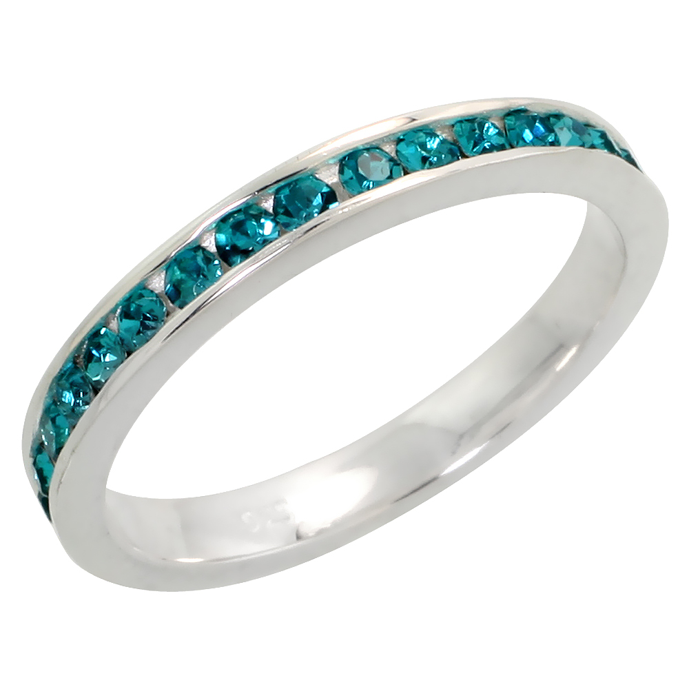 "Sterling Silver Stackable Eternity Band, December Birthstone, Blue Topaz Crystals, 1/8"" (3 mm) wide"